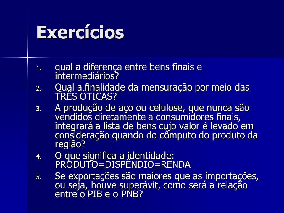 Exercícios 1. qual a diferença entre bens finais e intermediários? 2. Qual a finalidade da mensuração por meio das TRÊS ÓTICAS? 3. A produção de aço o