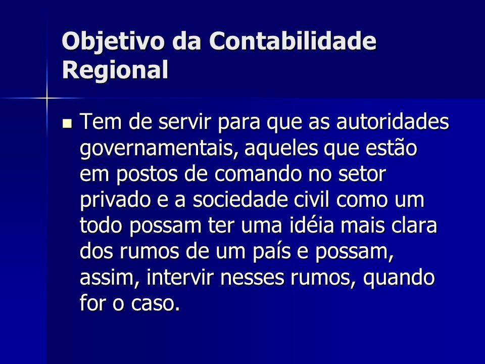 Objetivo da Contabilidade Regional Tem de servir para que as autoridades governamentais, aqueles que estão em postos de comando no setor privado e a s