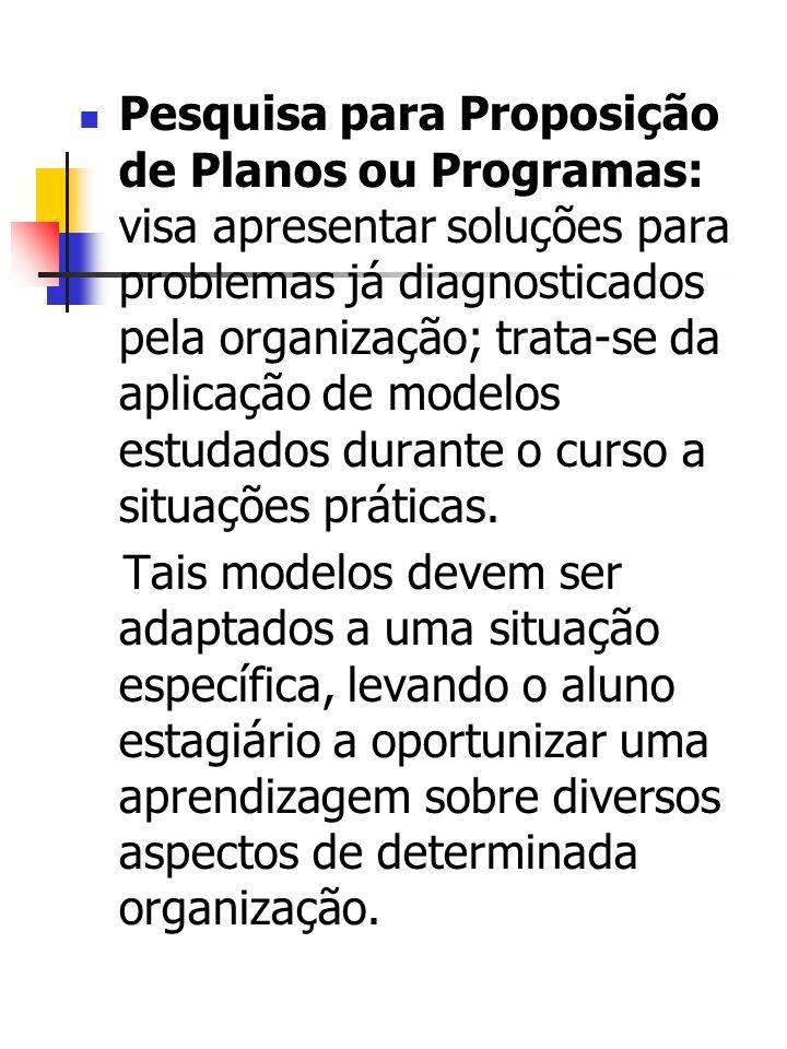 Pesquisa para Proposição de Planos ou Programas: visa apresentar soluções para problemas já diagnosticados pela organização; trata-se da aplicação de