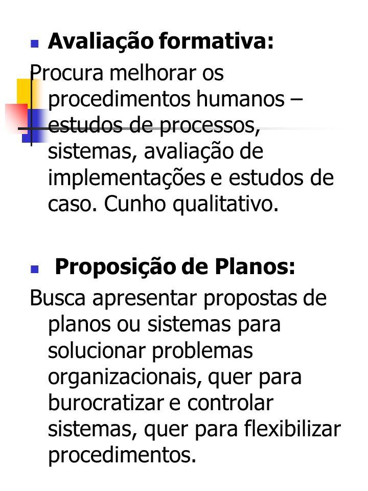 Avaliação formativa: Procura melhorar os procedimentos humanos – estudos de processos, sistemas, avaliação de implementações e estudos de caso. Cunho
