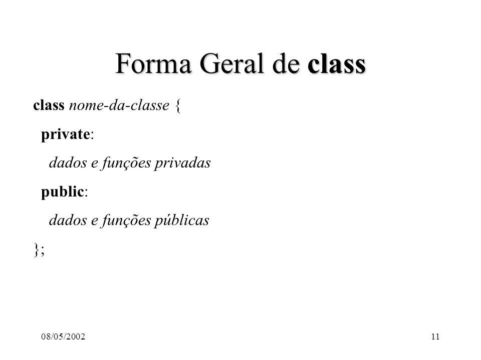 08/05/200211 Forma Geral de class class nome-da-classe { private: dados e funções privadas public: dados e funções públicas };