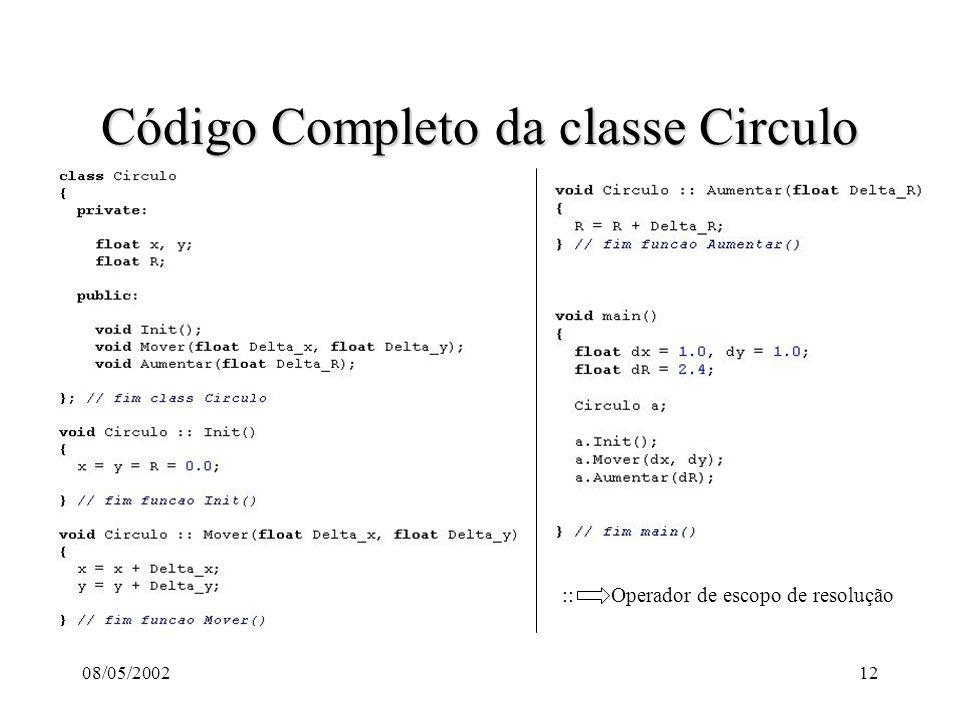 08/05/200212 Código Completo da classe Circulo :: Operador de escopo de resolução