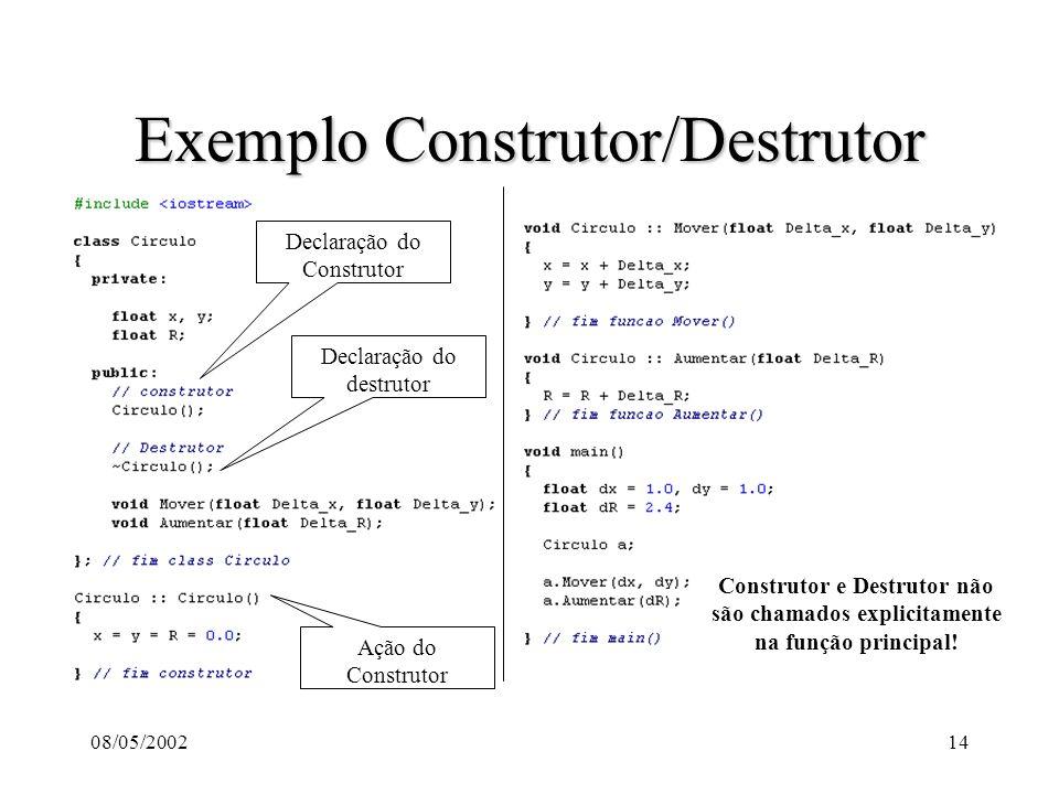 08/05/200214 Exemplo Construtor/Destrutor Declaração do Construtor Declaração do destrutor Ação do Construtor Construtor e Destrutor não são chamados explicitamente na função principal!