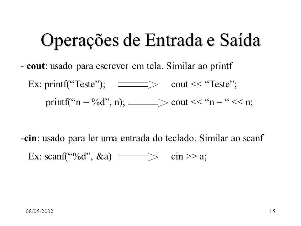 08/05/200215 Operações de Entrada e Saída - cout: usado para escrever em tela.