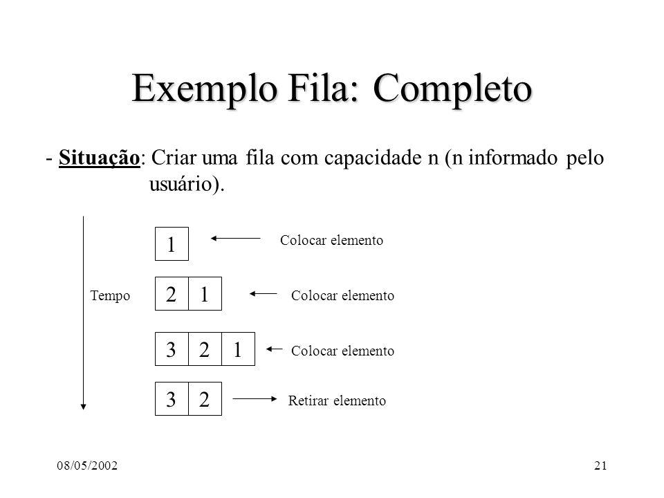 08/05/200221 Exemplo Fila: Completo - Situação: Criar uma fila com capacidade n (n informado pelo usuário).