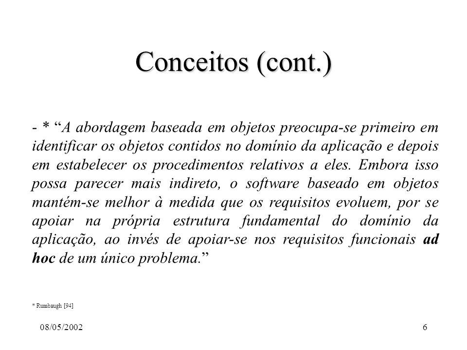 08/05/20027 Conceitos (cont.) - 6 Características da Tecnologia Baseada em objetos: - Abstração: Concentração nos aspectos essenciais, próprios, de uma entidade e em ignorar suas propriedades acidentais.