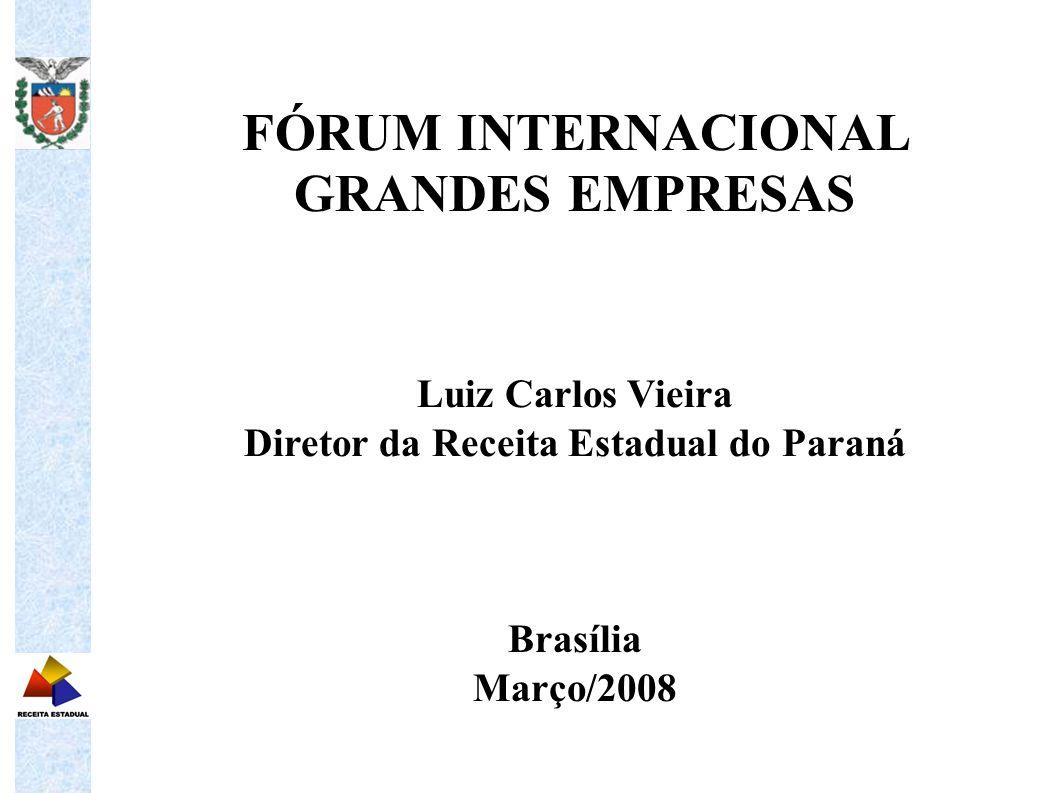 FÓRUM INTERNACIONAL GRANDES EMPRESAS Luiz Carlos Vieira Diretor da Receita Estadual do Paraná Brasília Março/2008