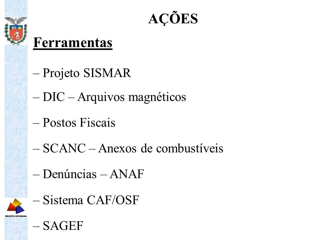 Ferramentas – Projeto SISMAR – DIC – Arquivos magnéticos – Postos Fiscais – SCANC – Anexos de combustíveis – Denúncias – ANAF – Sistema CAF/OSF – SAGE