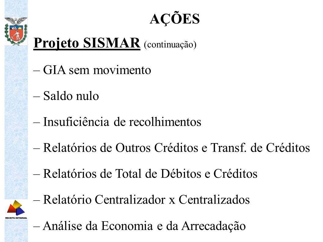 Projeto SISMAR (continuação) – GIA sem movimento – Saldo nulo – Insuficiência de recolhimentos – Relatórios de Outros Créditos e Transf. de Créditos –