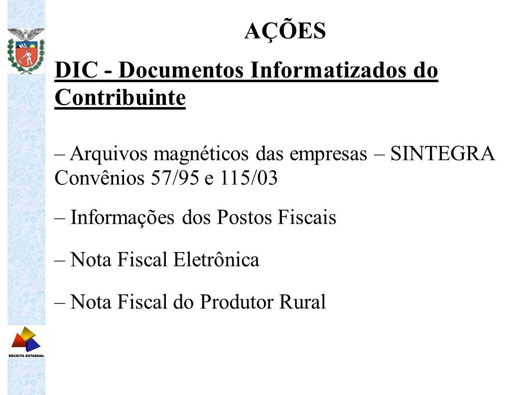 DIC - Documentos Informatizados do Contribuinte – Arquivos magnéticos das empresas – SINTEGRA Convênios 57/95 e 115/03 – Informações dos Postos Fiscai