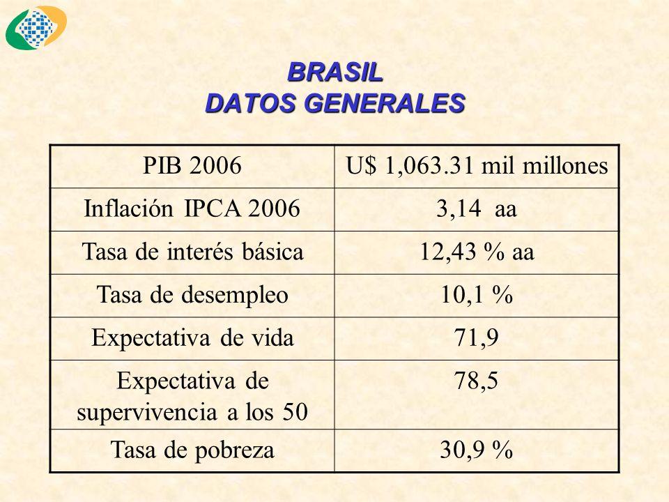 BRASIL DATOS GENERALES PIB 2006U$ 1,063.31 mil millones Inflación IPCA 20063,14 aa Tasa de interés básica12,43 % aa Tasa de desempleo10,1 % Expectativa de vida71,9 Expectativa de supervivencia a los 50 78,5 Tasa de pobreza30,9 %