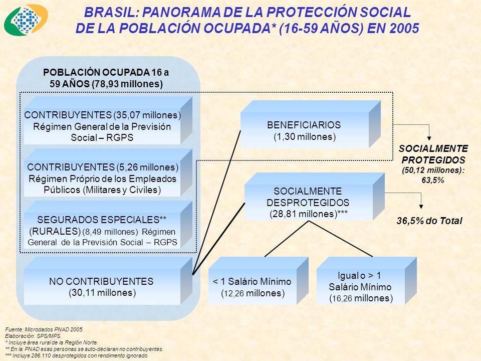 BRASIL: PANORAMA DE LA PROTECCIÓN SOCIAL DE LA POBLACIÓN OCUPADA* (16-59 AÑOS) EN 2005 Fuente: Microdados PNAD 2005.