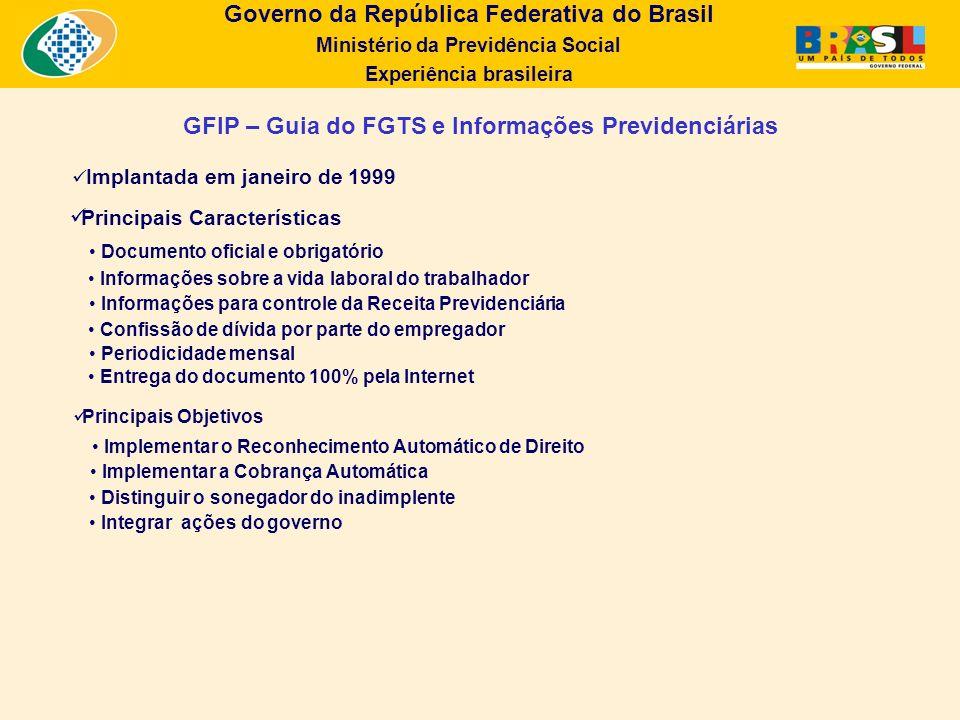 Governo da República Federativa do Brasil Ministério da Previdência Social Experiência brasileira Implantada em janeiro de 1999 Principais Característ