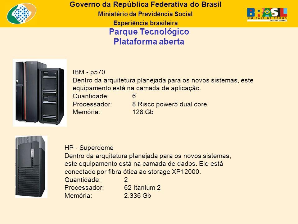 Governo da República Federativa do Brasil Ministério da Previdência Social Experiência brasileira IBM - p570 Dentro da arquitetura planejada para os n
