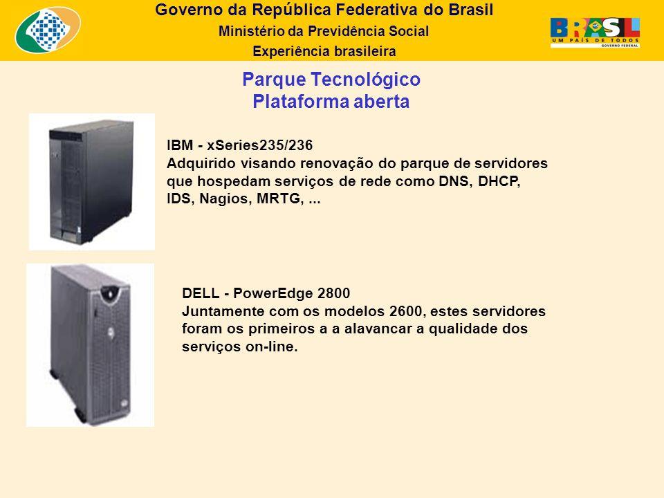 Governo da República Federativa do Brasil Ministério da Previdência Social Experiência brasileira Parque Tecnológico Plataforma aberta IBM - xSeries23