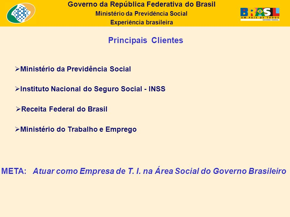 Governo da República Federativa do Brasil Ministério da Previdência Social Experiência brasileira Dimensões Continentais 8.5 milhões de quilômetros quadrados 47% da América do Sul 1 Distrito Federal 26 Estados 5.563 Municípios 190 milhões de habitantes Principais Desafios