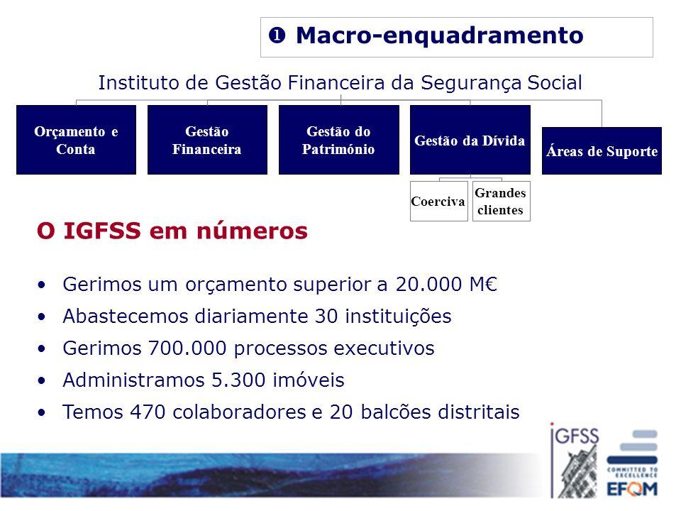 O IGFSS em números Gerimos um orçamento superior a 20.000 M Abastecemos diariamente 30 instituições Gerimos 700.000 processos executivos Administramos