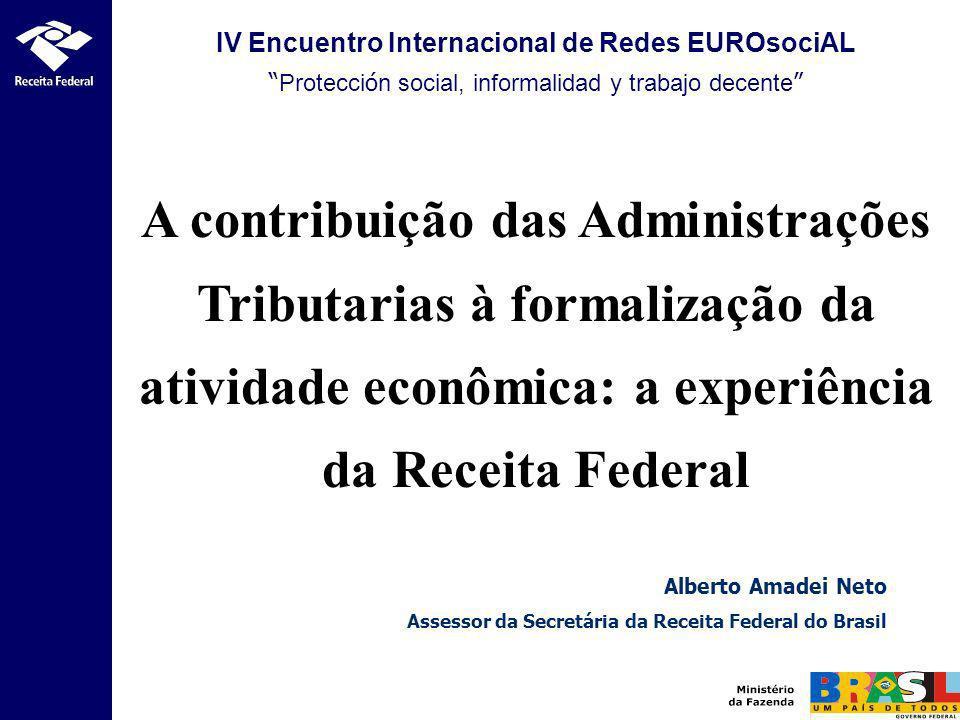 IV Encuentro Internacional de Redes EUROsociAL Protecci ó n social, informalidad y trabajo decente A contribuição das Administrações Tributarias à for