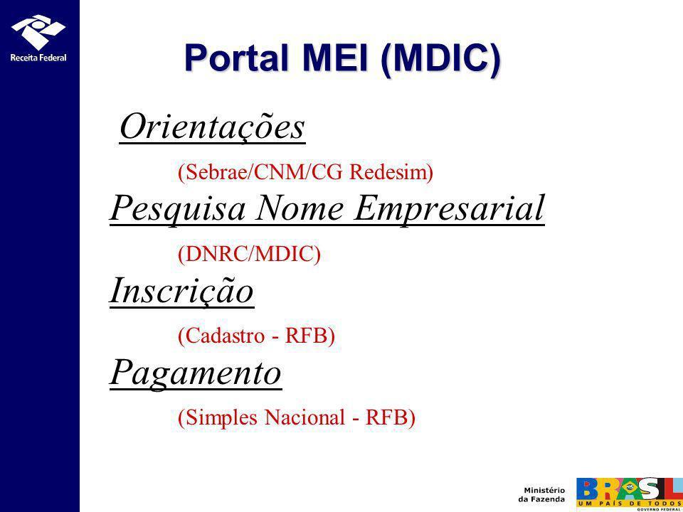Orientações (Sebrae/CNM/CG Redesim) Pesquisa Nome Empresarial (DNRC/MDIC) Inscrição (Cadastro - RFB) Pagamento (Simples Nacional - RFB) Portal MEI (MD