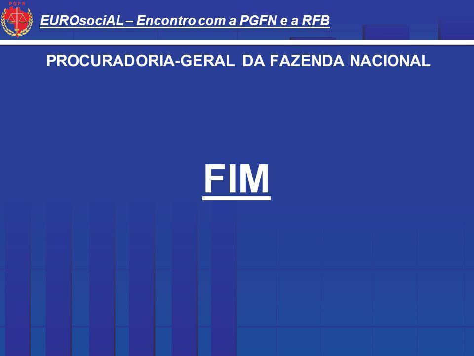 EUROsociAL – Encontro com a PGFN e a RFB PROCURADORIA-GERAL DA FAZENDA NACIONAL FIM