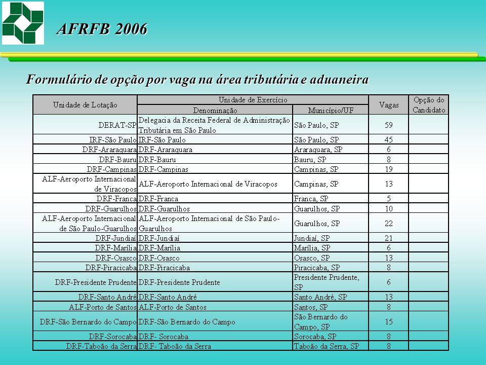 Formulário de opção por vaga na área tributária e aduaneira AFRFB 2006