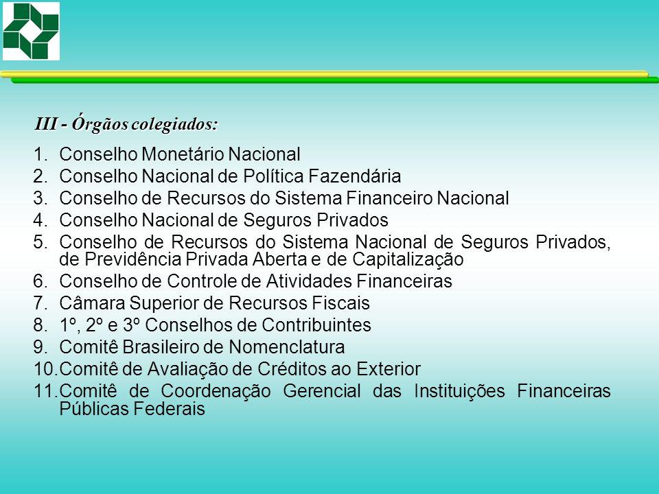 III - Órgãos colegiados: 1.Conselho Monetário Nacional 2.Conselho Nacional de Política Fazendária 3.Conselho de Recursos do Sistema Financeiro Naciona