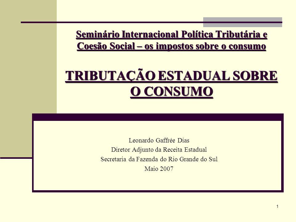 1 Seminário Internacional Política Tributária e Coesão Social – os impostos sobre o consumo TRIBUTAÇÃO ESTADUAL SOBRE O CONSUMO Leonardo Gaffrée Dias