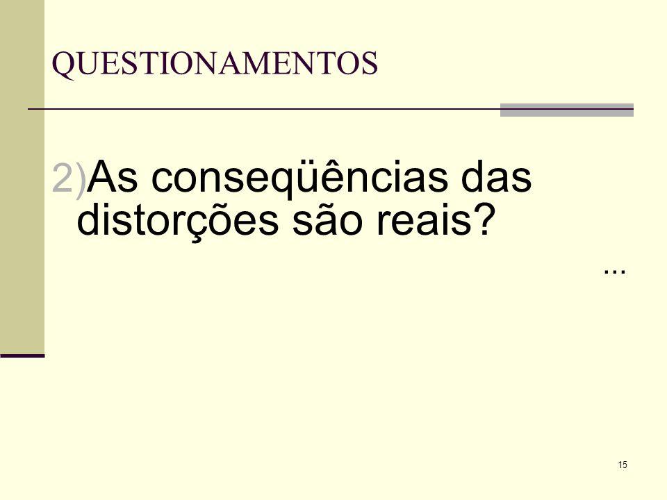 15 QUESTIONAMENTOS 2) As conseqüências das distorções são reais?...
