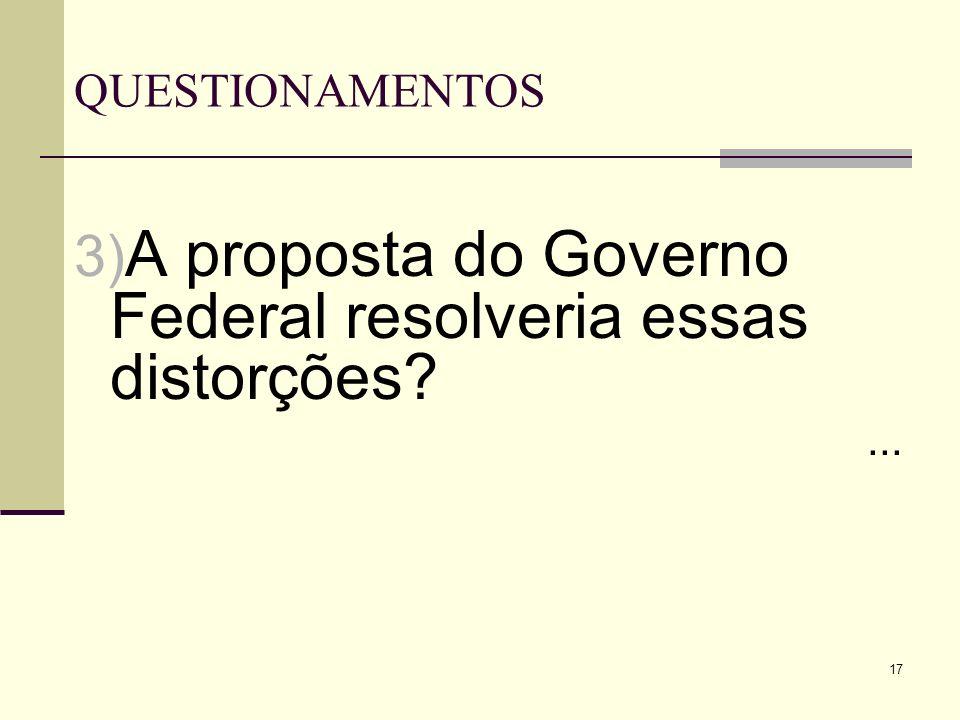 17 QUESTIONAMENTOS 3) A proposta do Governo Federal resolveria essas distorções?...