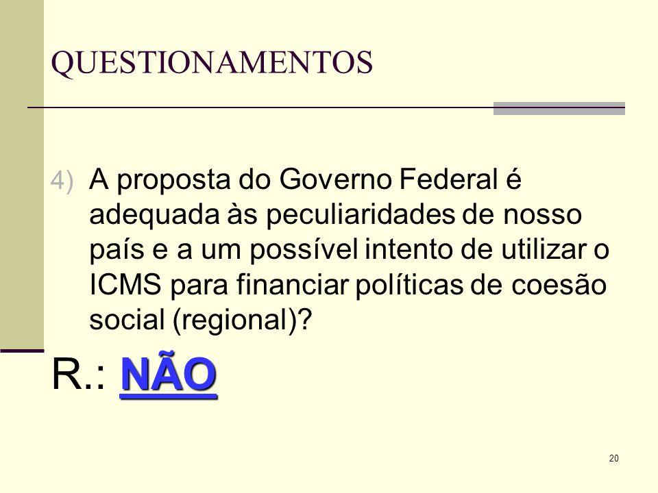20 QUESTIONAMENTOS 4) A proposta do Governo Federal é adequada às peculiaridades de nosso país e a um possível intento de utilizar o ICMS para financi