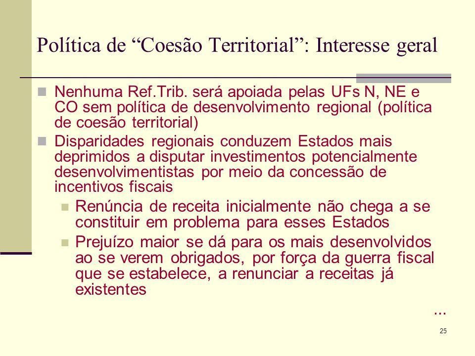 25 Política de Coesão Territorial: Interesse geral Nenhuma Ref.Trib. será apoiada pelas UFs N, NE e CO sem política de desenvolvimento regional (polít