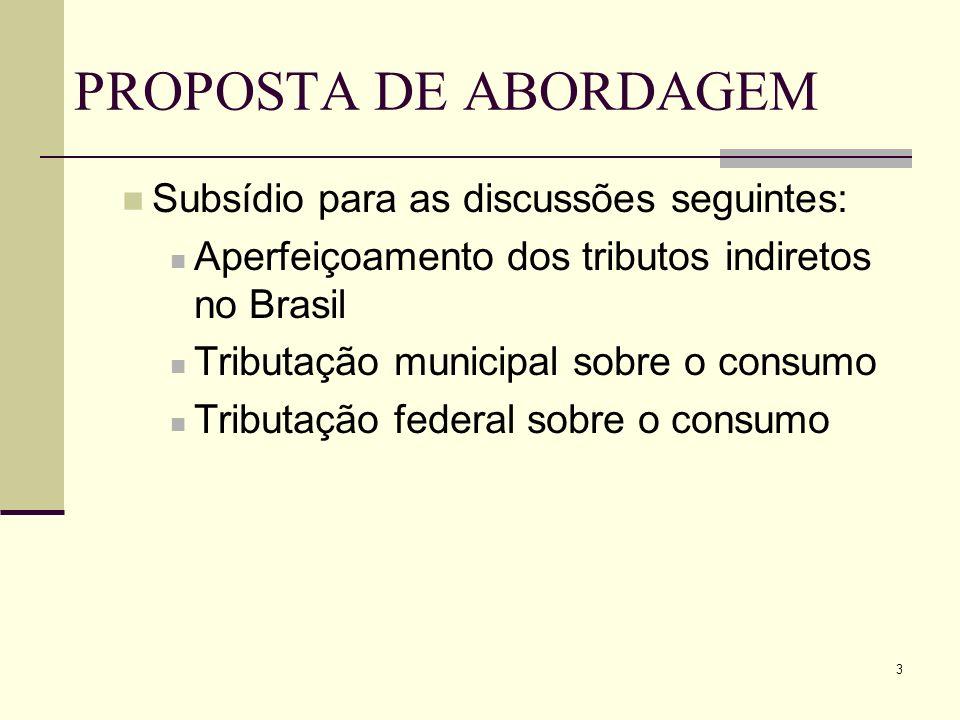 3 PROPOSTA DE ABORDAGEM Subsídio para as discussões seguintes: Aperfeiçoamento dos tributos indiretos no Brasil Tributação municipal sobre o consumo T