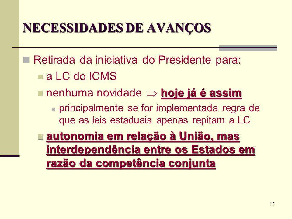 31 NECESSIDADES DE AVANÇOS Retirada da iniciativa do Presidente para: a LC do ICMS hoje já é assim nenhuma novidade hoje já é assim principalmente se