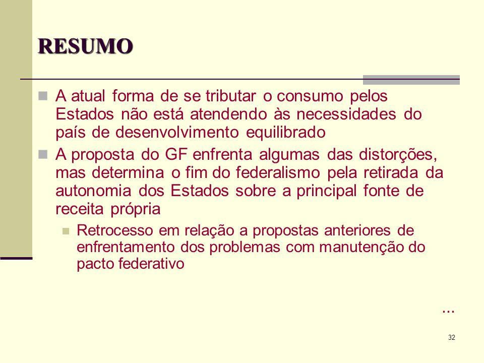 32 RESUMO A atual forma de se tributar o consumo pelos Estados não está atendendo às necessidades do país de desenvolvimento equilibrado A proposta do