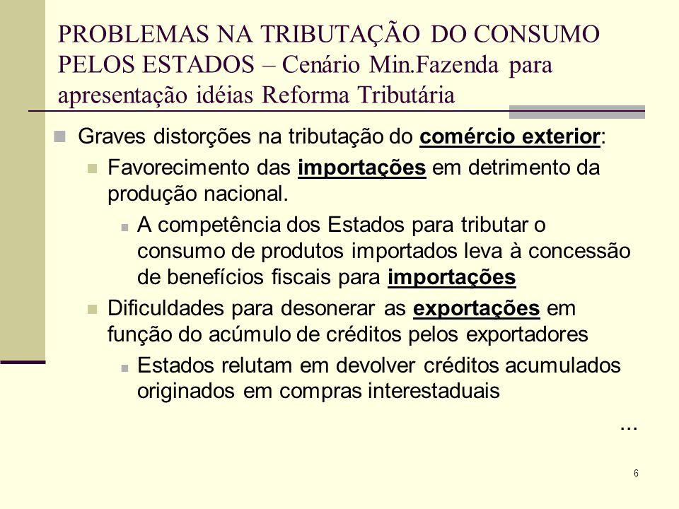 6 PROBLEMAS NA TRIBUTAÇÃO DO CONSUMO PELOS ESTADOS – Cenário Min.Fazenda para apresentação idéias Reforma Tributária comércio exterior Graves distorçõ