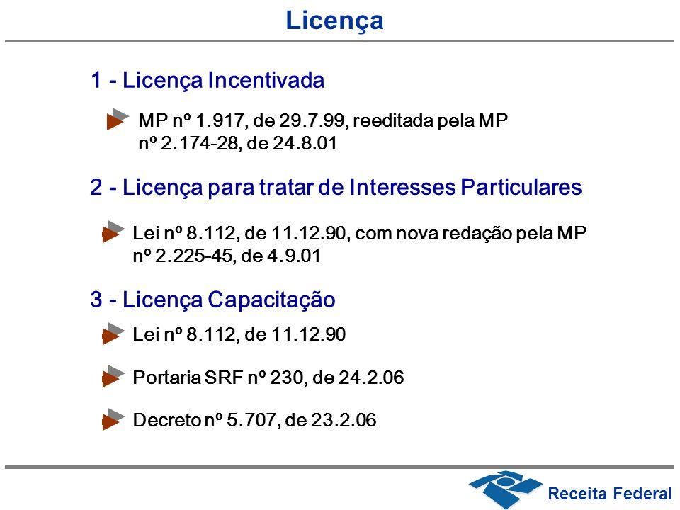 MP nº 1.917, de 29.7.99, reeditada pela MP nº 2.174-28, de 24.8.01 Lei nº 8.112, de 11.12.90, com nova redação pela MP nº 2.225-45, de 4.9.01 Receita
