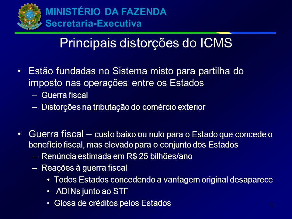 MINISTÉRIO DA FAZENDA Secretaria-Executiva 12 Estão fundadas no Sistema misto para partilha do imposto nas operações entre os Estados –Guerra fiscal –
