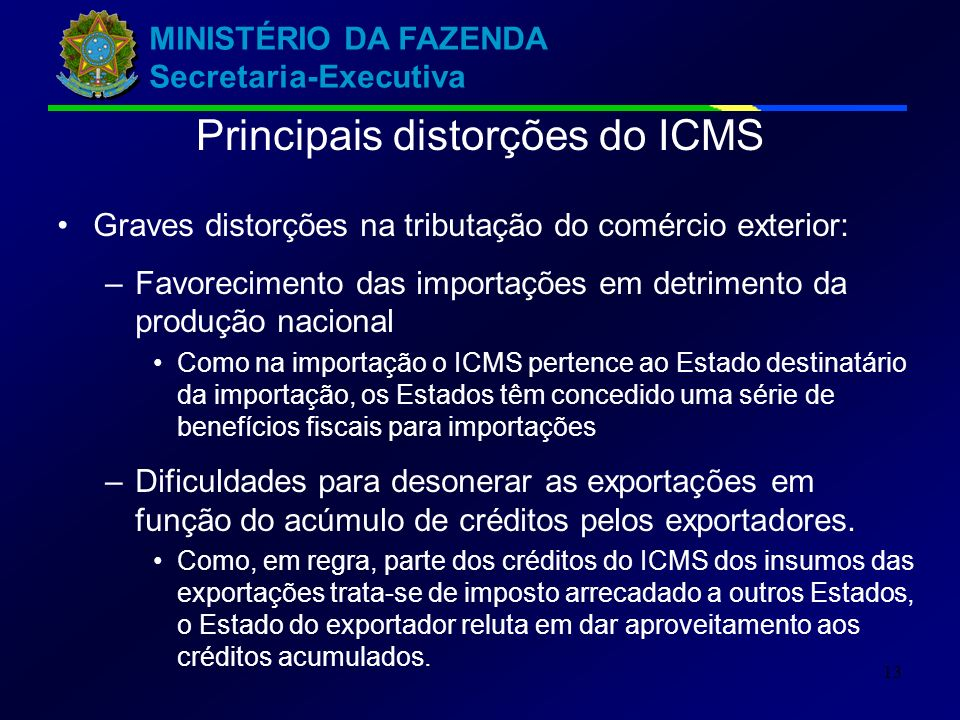 MINISTÉRIO DA FAZENDA Secretaria-Executiva 13 Graves distorções na tributação do comércio exterior: –Favorecimento das importações em detrimento da pr