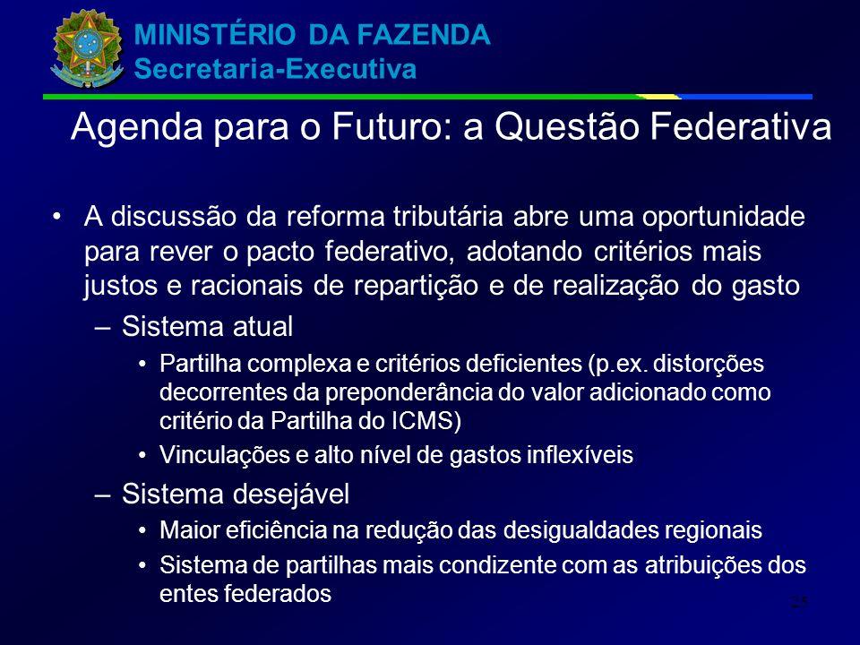 MINISTÉRIO DA FAZENDA Secretaria-Executiva 25 Agenda para o Futuro: a Questão Federativa A discussão da reforma tributária abre uma oportunidade para