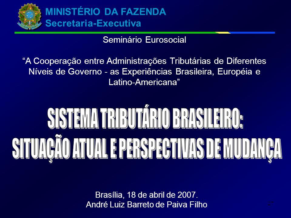 MINISTÉRIO DA FAZENDA Secretaria-Executiva 27 Seminário Eurosocial A Cooperação entre Administrações Tributárias de Diferentes Níveis de Governo - as