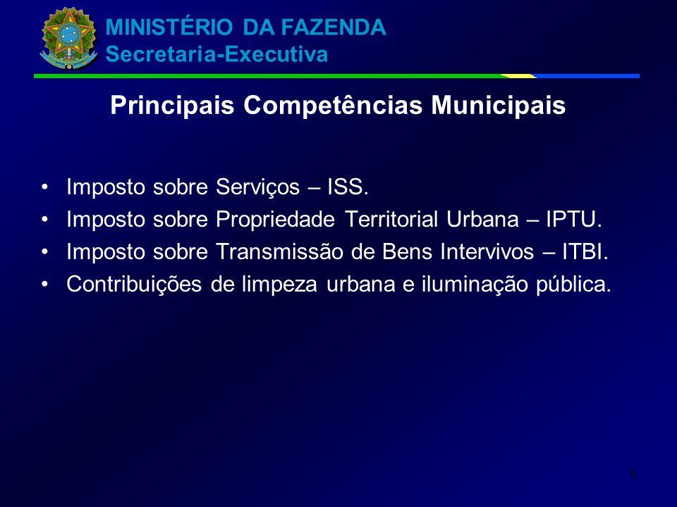 MINISTÉRIO DA FAZENDA Secretaria-Executiva 6 Principais Competências Municipais Imposto sobre Serviços – ISS. Imposto sobre Propriedade Territorial Ur