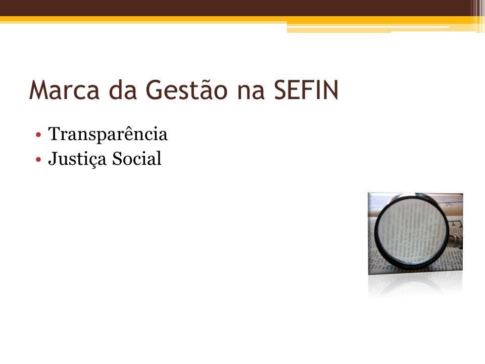 Marca da Gestão na SEFIN Transparência Justiça Social