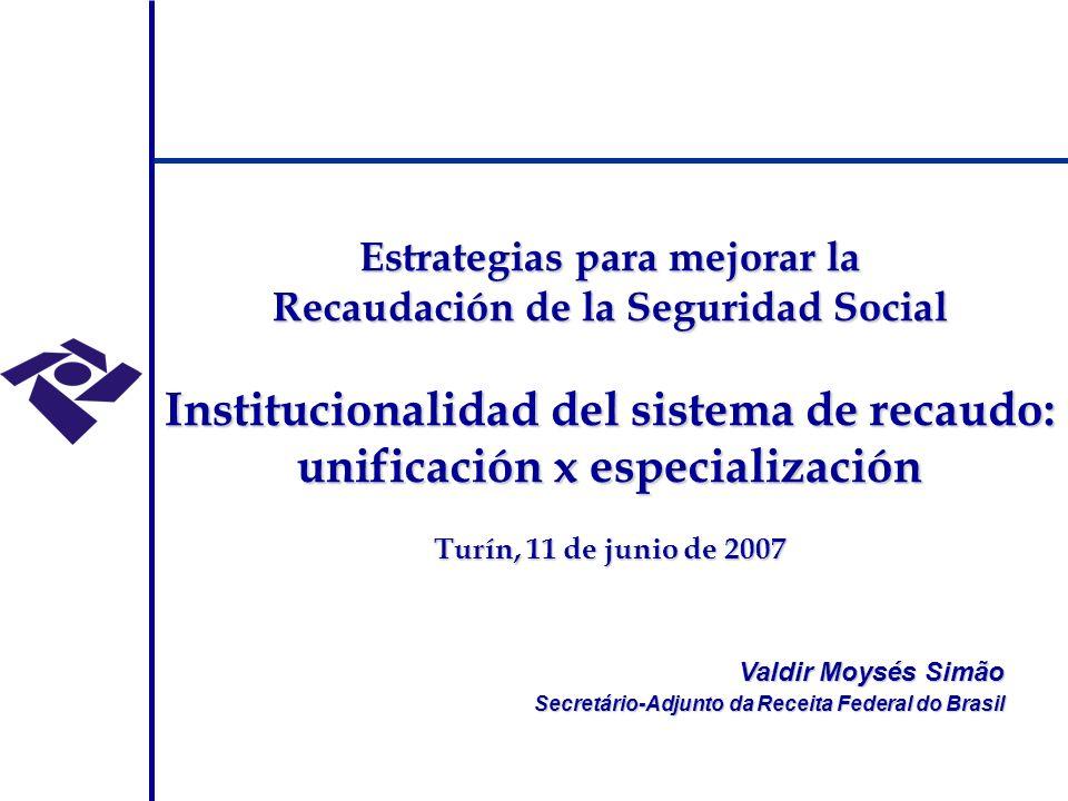 Modelo de administração tributária anteriormente adotado no Brasil Secretaria da Receita Federal (SRF/MF) – administração de tributos internos (IR, IPI, ITR, IOF, CSLL, PIS, COFINS, CPMF, CIDE) e aduaneiros (II, IE, IPI, COFINS, CIDE) Secretaria da Receita Previdenciária (SRP/MPS) – oriunda do desmembramento da área tributária do INSS - administração das contribuições previdenciárias Dívida Ativa Tributária administrada por duas estruturas – Procuradoria Geral da Fazenda Nacional e Procuradoria Geral Federal