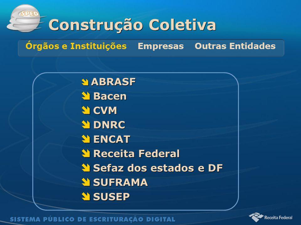 Sistema Público de Escrituração Digital ABRASF Bacen CVM DNRC ENCAT Receita Federal Sefaz dos estados e DF SUFRAMA SUSEP ABRASF Bacen CVM DNRC ENCAT R