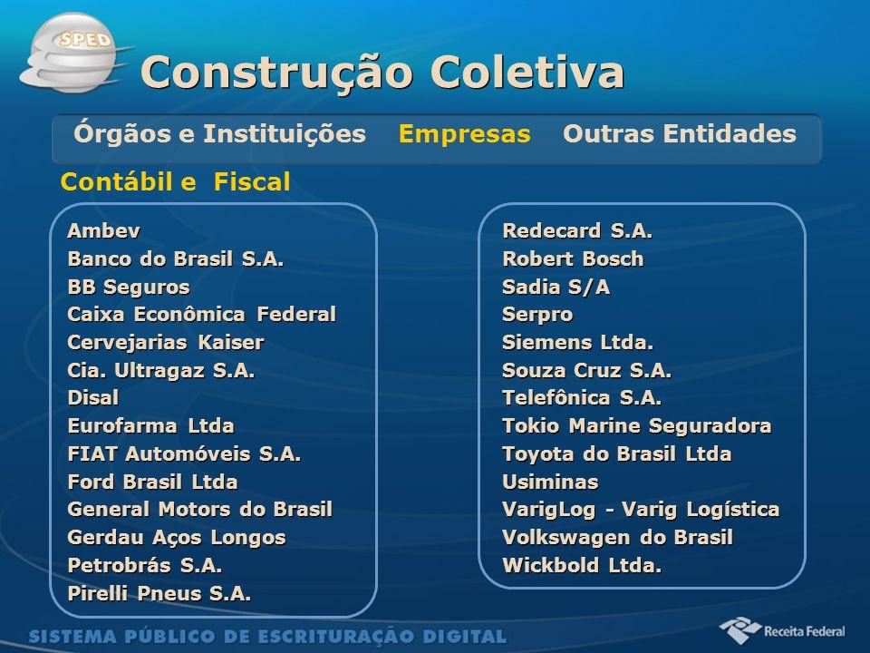 Sistema Público de Escrituração Digital Ambev Banco do Brasil S.A. BB Seguros Caixa Econômica Federal Cervejarias Kaiser Cia. Ultragaz S.A. Disal Euro