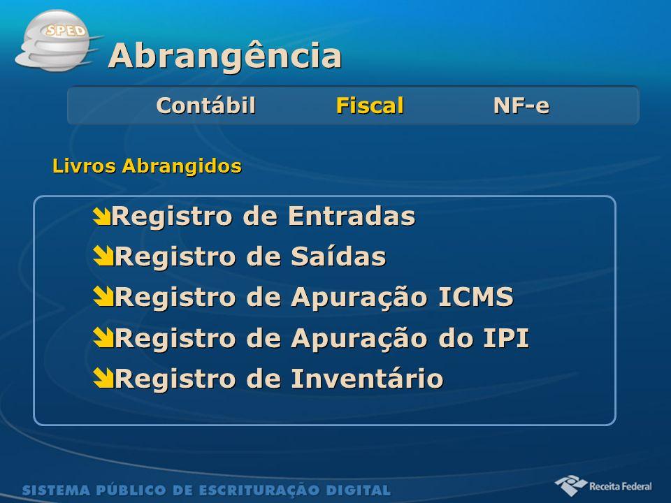 Sistema Público de Escrituração Digital Registro de Entradas Registro de Saídas Registro de Apuração ICMS Registro de Apuração do IPI Registro de Inve