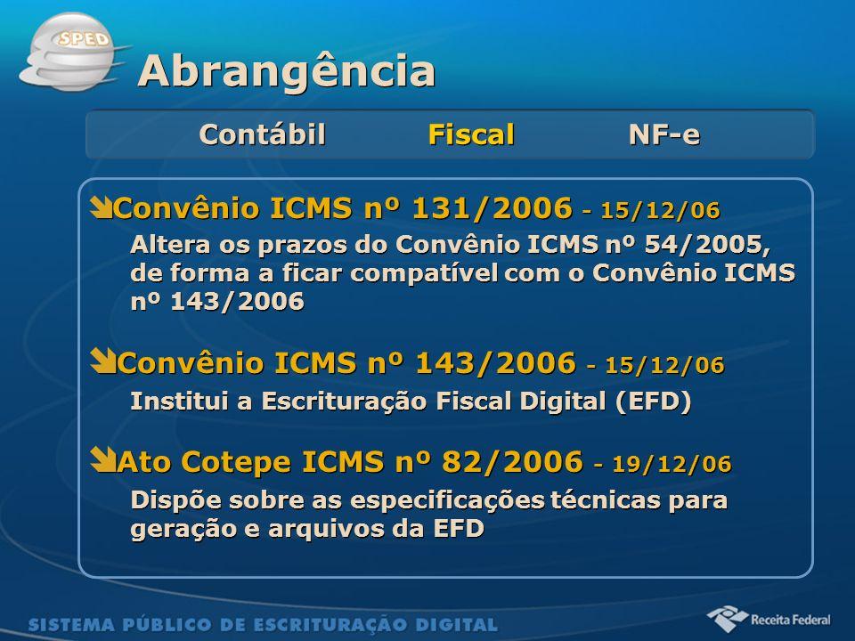 Sistema Público de Escrituração Digital Convênio ICMS nº 131/2006 - 15/12/06 Altera os prazos do Convênio ICMS nº 54/2005, de forma a ficar compatível