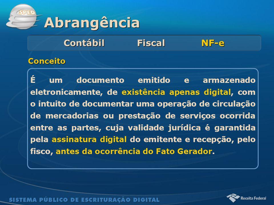 Sistema Público de Escrituração Digital Abrangência Contábil Fiscal NF-e É um documento emitido e armazenado eletronicamente, de existência apenas dig