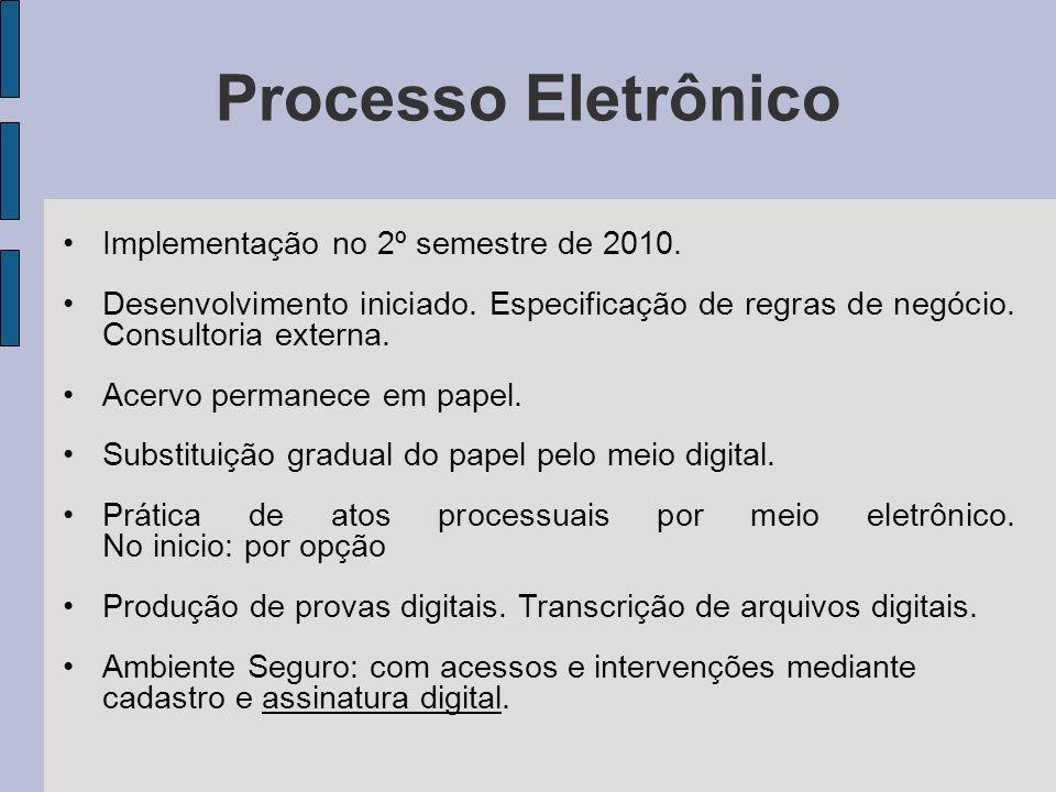 Processo Eletrônico Implementação no 2º semestre de 2010. Desenvolvimento iniciado. Especificação de regras de negócio. Consultoria externa. Acervo pe