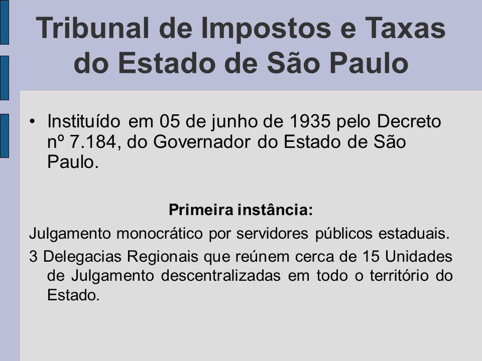 Tribunal de Impostos e Taxas do Estado de São Paulo Instituído em 05 de junho de 1935 pelo Decreto nº 7.184, do Governador do Estado de São Paulo. Pri